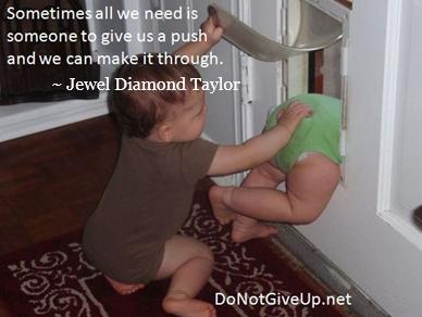 baby pushing through door
